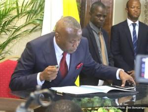 Vital Kamerhe, président de l'UNC lors de la cérémonie de signature de l'accord du dialogue inclusif le 31/12/2016 à Kinshasa. Radio Okapi/Ph. John Bompengo.